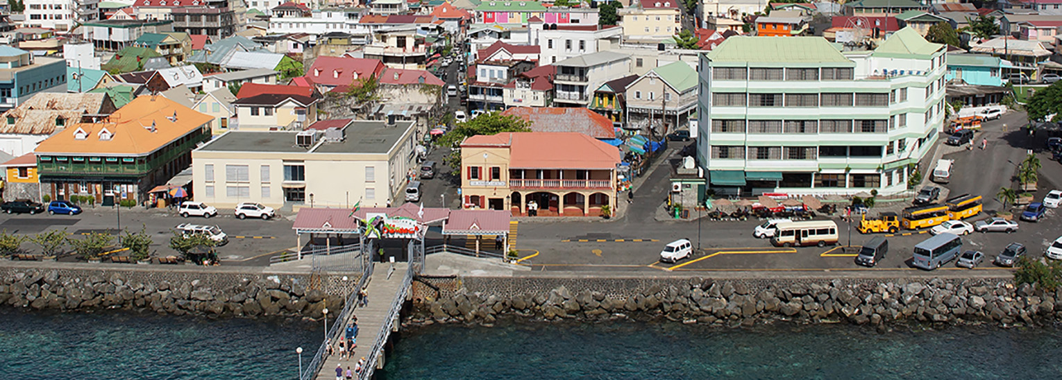 View of  Roseau the capital of Dominica.